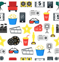 cartoon cinema color background pattern on a white vector image