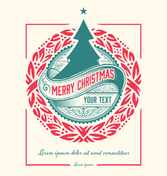 christmas vintage greeting card with wallpaper vector image