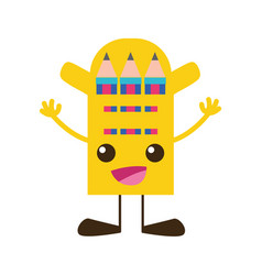 Colorful happy colored pencil kawaii with arms and vector