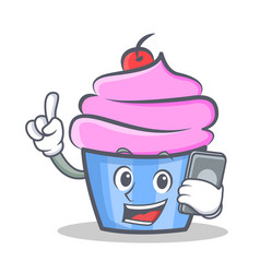 Cupcake character cartoon style with phone vector