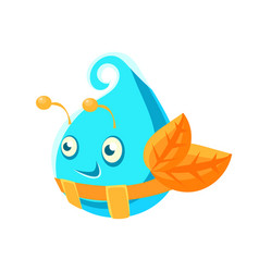 cute fantastic turquoise plant character in the vector image