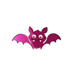cute funny purple cartoon bat on white background vector image