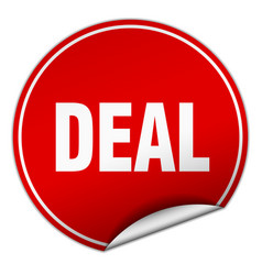 Deal round red sticker isolated on white vector
