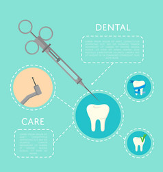 Dental care banner with medical instruments vector
