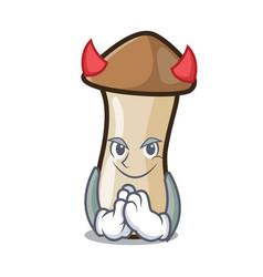 Devil pleurotus erynggi mushroom mascot cartoon vector