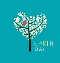 earth day heart shaped tree flat design vector image