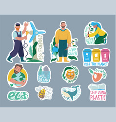 ecology labels eco friendly concept save our vector image