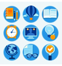 Education icons in flat style and bright colors - vector