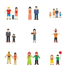 Family relationships icons set flat style vector