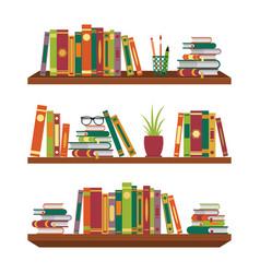 Flat book on bookshelves pile books on shelf vector