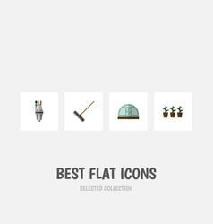 flat icon dacha set of pump flowerpot hothouse vector image vector image