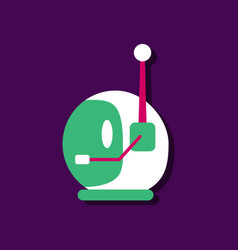 Flat icon design space helmet with antenna in vector