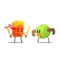 French Fries Against Cabbage Cartoon Fight vector image