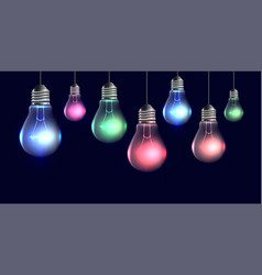 Garland of hanging realistic light bulbs with vector