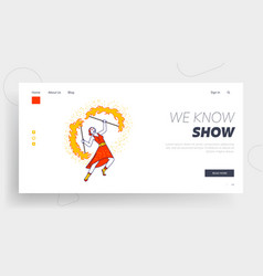 Girl artist playing and dance with blaze landing vector