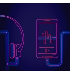 Glowing abstract line smartphone and headphones vector