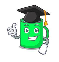 Graduation mug character cartoon style vector