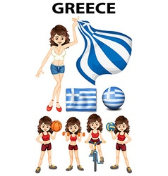 Greece flag and woman athlete vector image