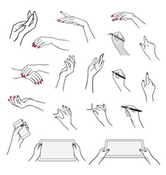 hands drawing using devices vector image