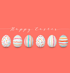 happy easter eggs set in a row copyspace colorful vector image