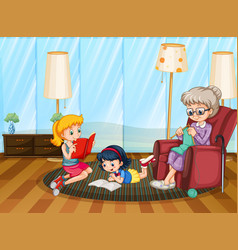 Happy family in living room scene vector