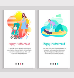 Happy motherhood mother with child family vector