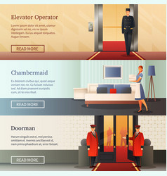Hotel staff horizontal banners vector