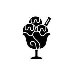 ice cream black icon sign on isolated vector image