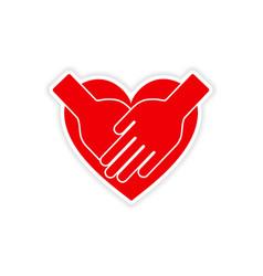 Icon sticker realistic design on paper hands heart vector