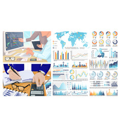 infographics and world map figures calculations vector image