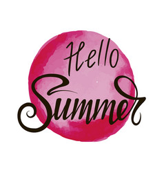 inscription hello summer on red background vector image