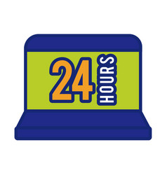 Laptop with 24 hours line and fill style icon vector