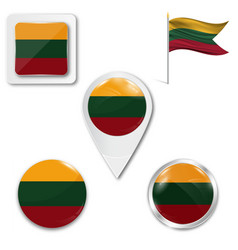 Lithuania flag map and glossy button set vector