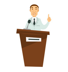 medicine lecture doctor giving speech on tribune vector image