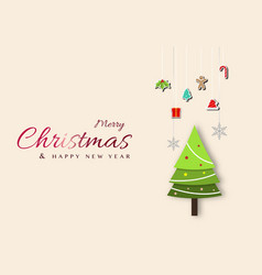 minimal christmas design with christmas tree vector image