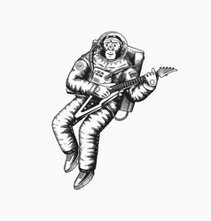 Monkey astronaut plays the electric guitar vector
