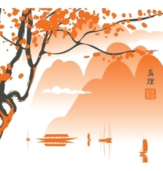 Mountain landscape in the chinese or japanese vector