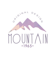 Mountain original design estd 1965 logo tourism vector