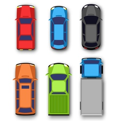 Multicolored car collection isolated on white vector
