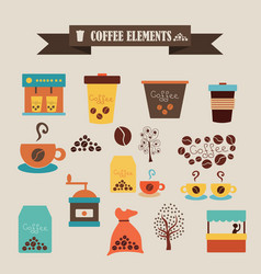 multicolored icons with tape on topic coffee vector image