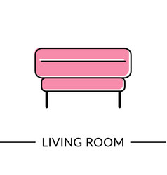 Ottoman living room furniture line icon vector