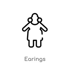Outline earings icon isolated black simple line vector