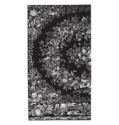 Rug is designed with flower buds vintage engraving vector