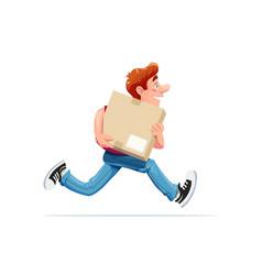 Running boy carry box vector