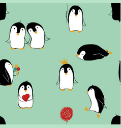 seamless pattern of penguins vector image