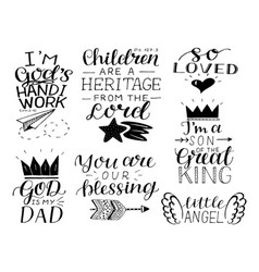 Set 7 hand lettering baby quotes so loved vector
