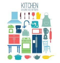 set icon kitchen vector image