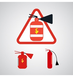Set of Fire extinguishers isolated on silver backg vector image