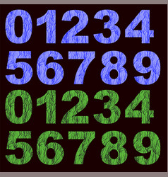 Set of grunge blue green numbers vector