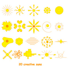 set of suns elements for design vector image
